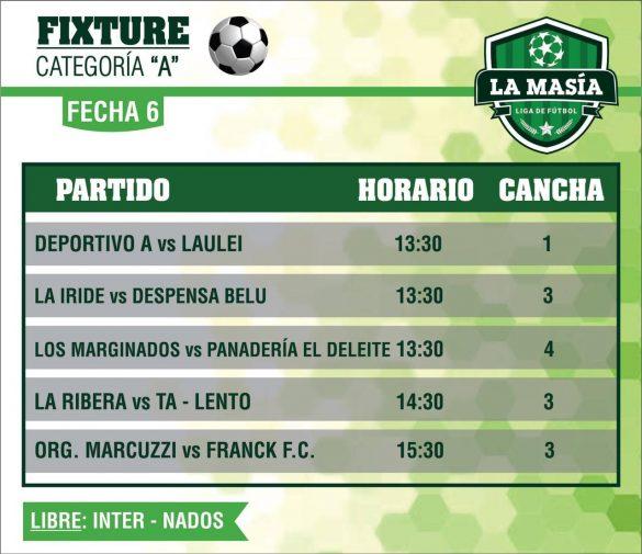 El sábado se juega la sexta fecha en la Liga La Masía